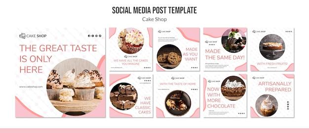 Modello di post social media concetto negozio di dolci Psd Gratuite