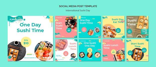 Modello di post social media giornata internazionale dei sushi Psd Gratuite