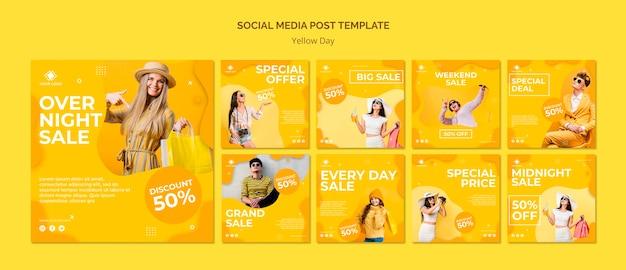 Modello di post social media giorno giallo Psd Gratuite
