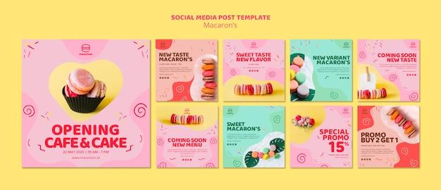 Modello di post social media macarons Psd Gratuite