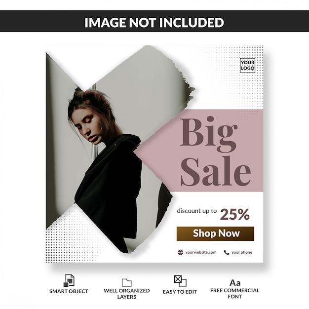 Modello di post social media promozionale grande vendita di moda minimalista Psd Premium