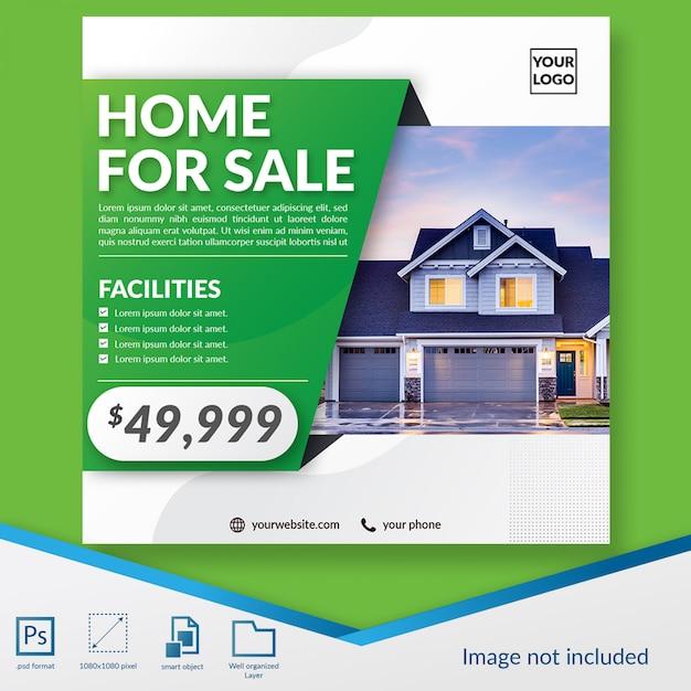 Modello di post social media promozione immobiliare professionale Psd Premium
