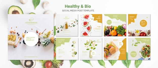 Modello di post social media ristorante vegetariano Psd Gratuite
