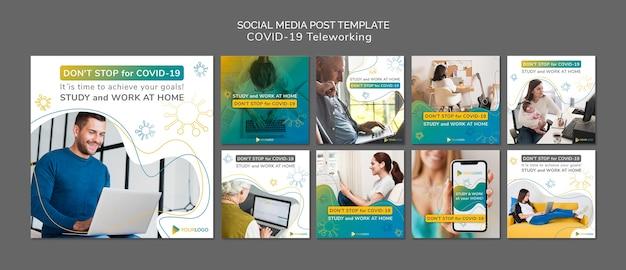 Modello di post sui social media di coronavirus con foto Psd Gratuite