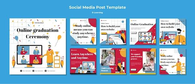 Modello di post sui social media e-learning Psd Gratuite