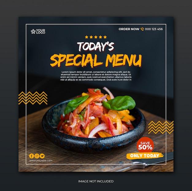 Modello di posta sociale dei media con il concetto di menu speciale del ristorante Psd Premium