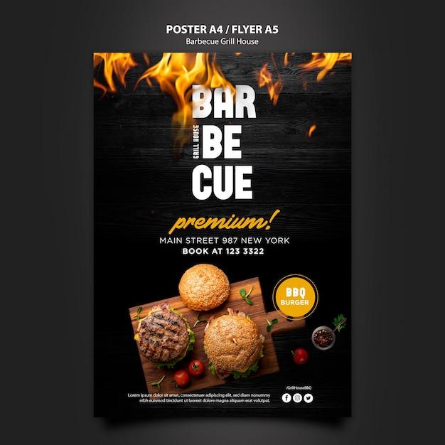 Modello di poster con design barbecue Psd Gratuite