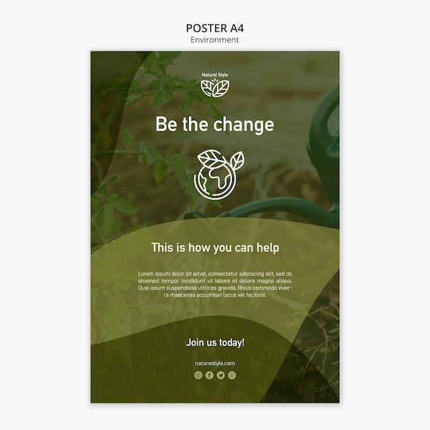 Modello di poster con design dell'ambiente Psd Gratuite