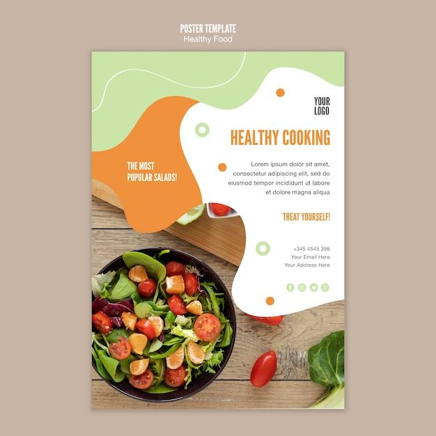 Modello di poster cucina insalata sana Psd Gratuite