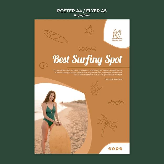 Modello di poster da surf Psd Gratuite