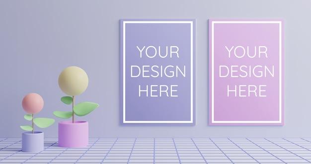 Modello di poster di coppia in 3d rendering stile colore pastello Psd Premium