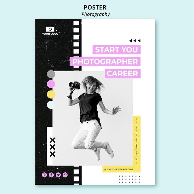 Modello di poster di fotografia creativa Psd Gratuite