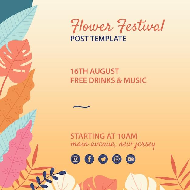 Modello di poster festival di fiori disegnati a mano Psd Gratuite