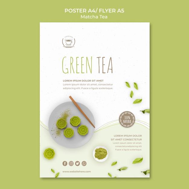 Modello di poster minimalista di tè verde Psd Gratuite