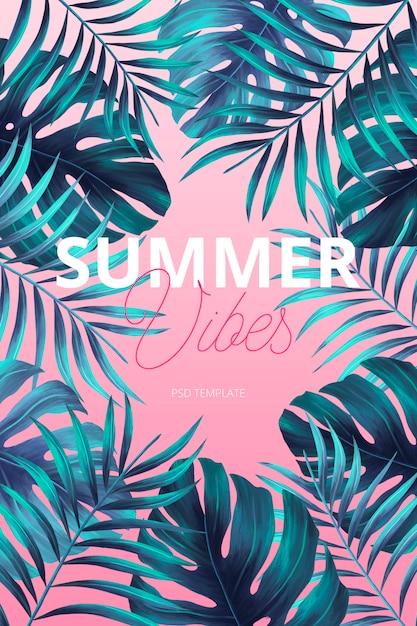 Modello di poster tropicale moderno con foglie di acquerello Psd Gratuite
