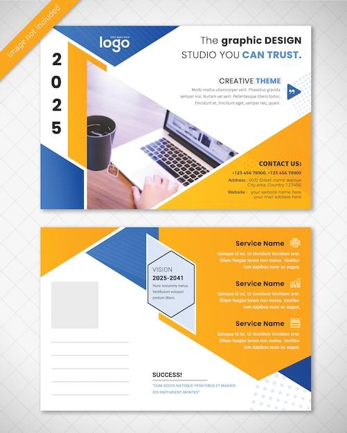 Modello di progettazione cartolina postale blu e giallo Psd Premium