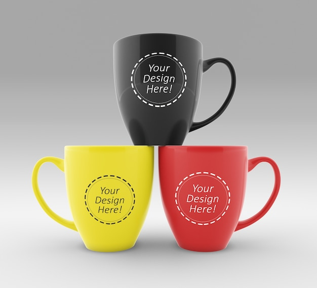Modello di progettazione di mockup facile da modificare di tre tazze da caffè Psd Premium