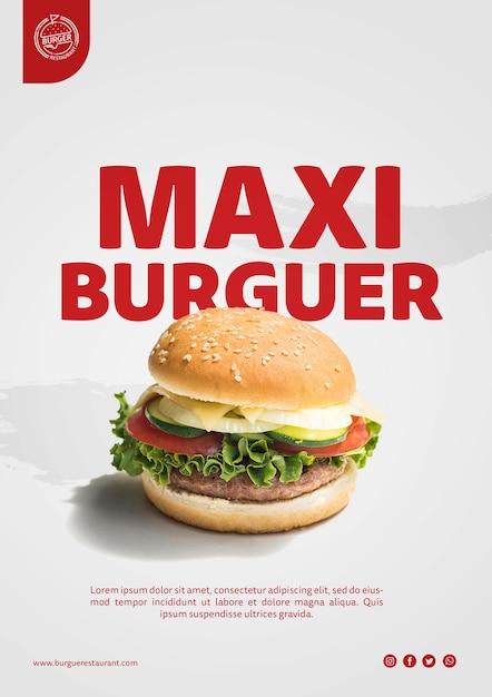 Modello di pubblicità di hamburger con foto Psd Gratuite