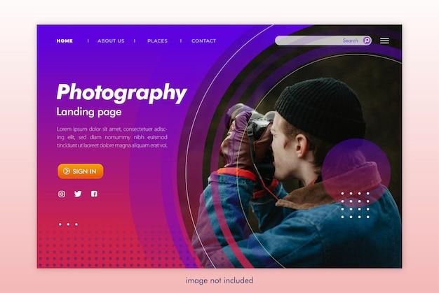 Modello di sito web della pagina di destinazione della fotografia Psd Premium