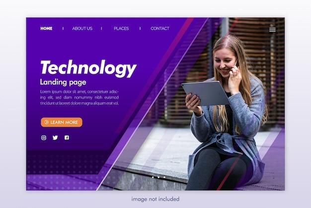 Modello di sito web tecnologia landing page Psd Premium