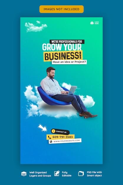 Modello di storia di promozione aziendale e instagram aziendale Psd Premium