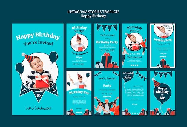 Modello di storie di instagram celebrazione di compleanno Psd Gratuite