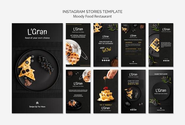 Modello di storie di instagram cibo lunatico Psd Gratuite