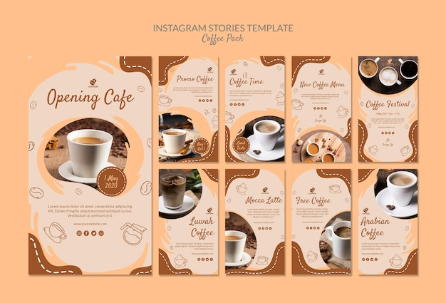 Modello di storie di instagram del pacchetto di caffè Psd Gratuite