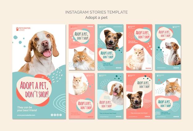 Modello di storie di instagram di adozione di animali domestici Psd Gratuite
