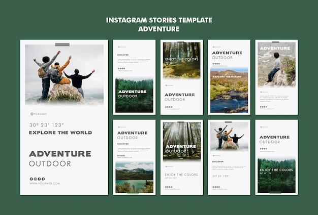 Modello di storie di instagram di avventura Psd Gratuite