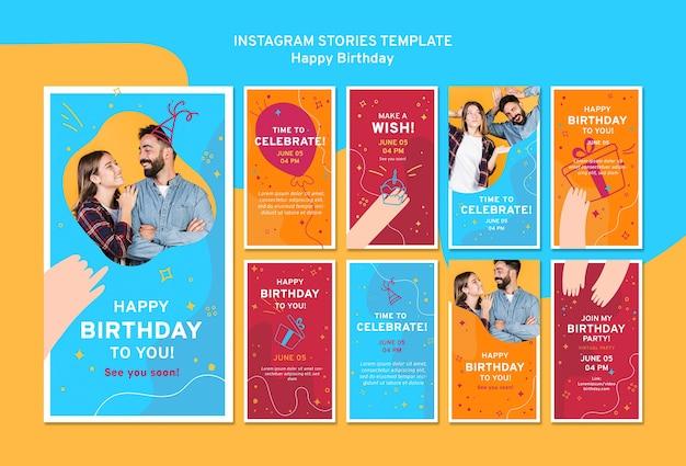 Modello di storie di instagram di buon compleanno Psd Gratuite