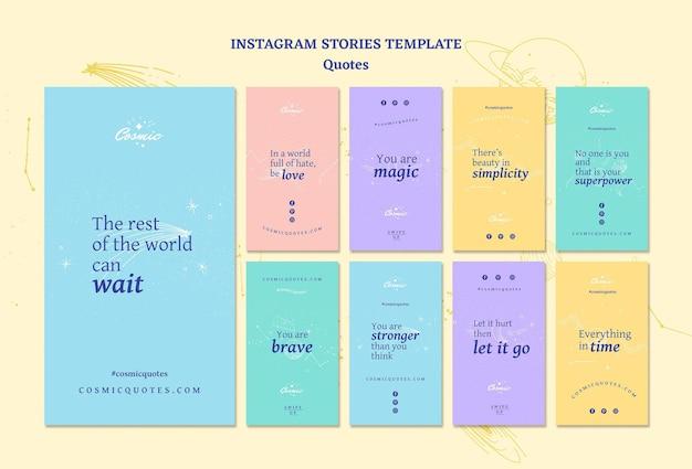 Modello di storie di instagram di concetto di citazioni Psd Gratuite