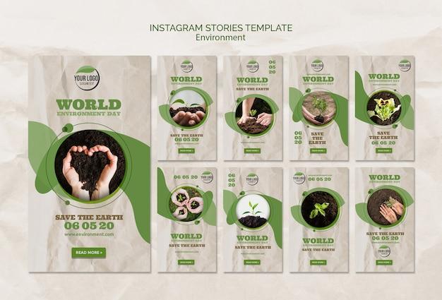 Modello di storie di instagram di giornata mondiale dell'ambiente Psd Gratuite