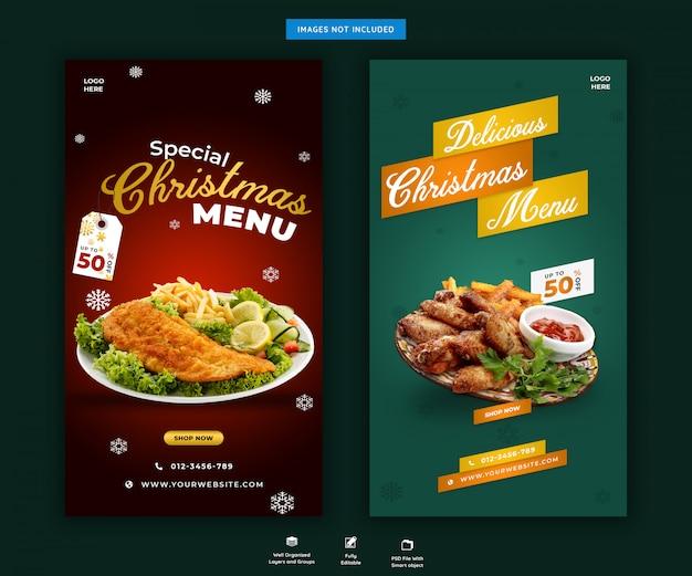 Modello di storie di instagram di menu o ristorante di natale premium psd Psd Premium