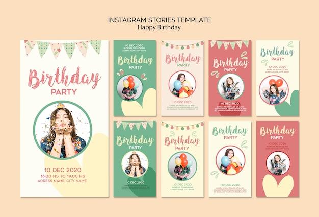Modello di storie di instagram festa di compleanno con foto Psd Gratuite