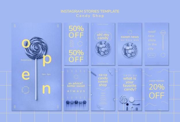 Modello di storie di instagram per negozio di caramelle Psd Gratuite