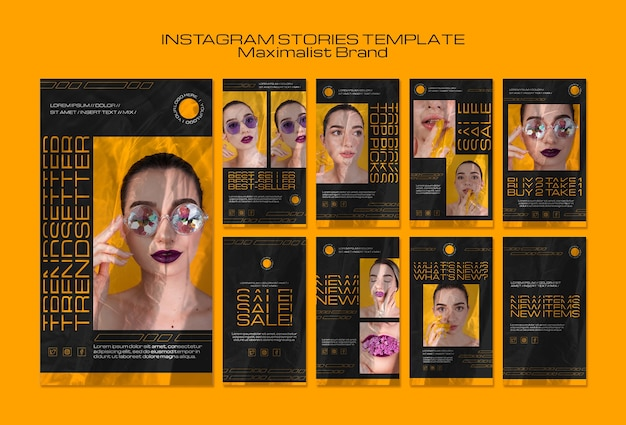 Modello di storie instagram di trendsetter del marchio maximalist Psd Gratuite