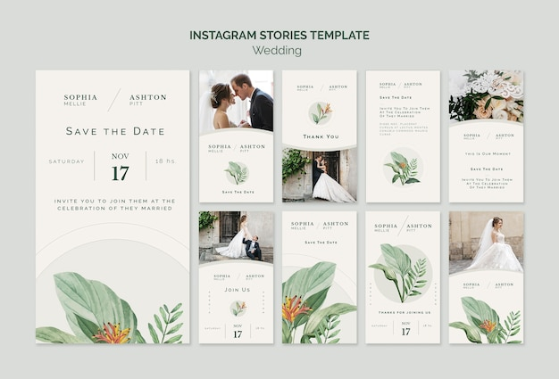 Modello di storie instagram matrimonio elegante Psd Gratuite