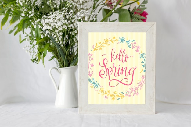 Modello di telaio con fiori primaverili Psd Gratuite