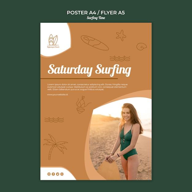 Modello di tema di surf poster Psd Gratuite