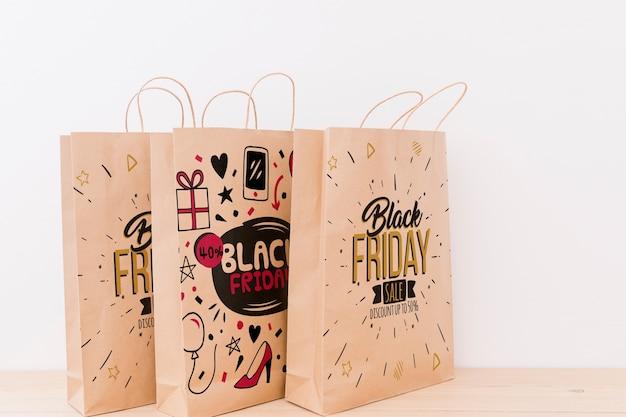 Modello di varie borse della spesa per venerdì nero Psd Gratuite