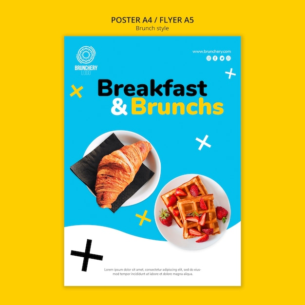 Modello di volantino colazione e brunch Psd Gratuite