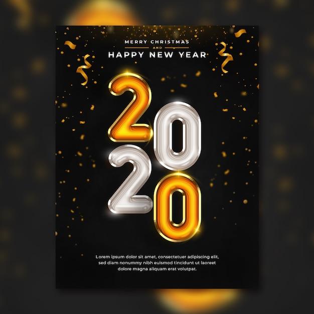 Modello di volantino di felice anno nuovo 2020 premium psd Psd Premium