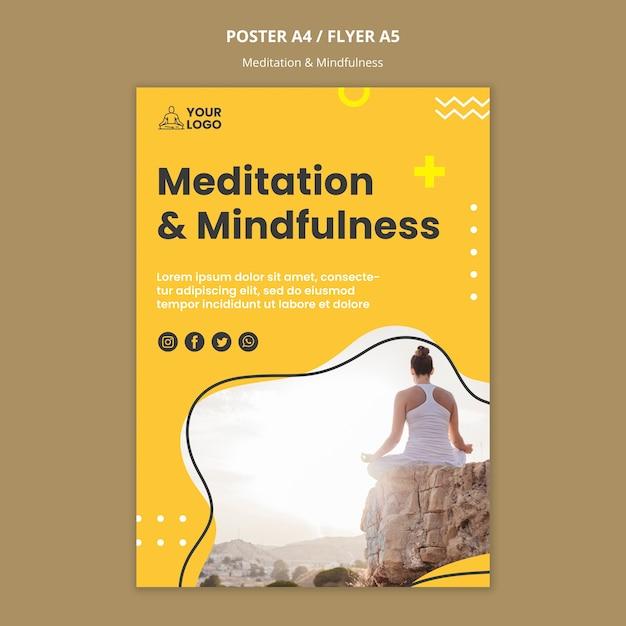 Modello di volantino di meditazione e consapevolezza Psd Gratuite