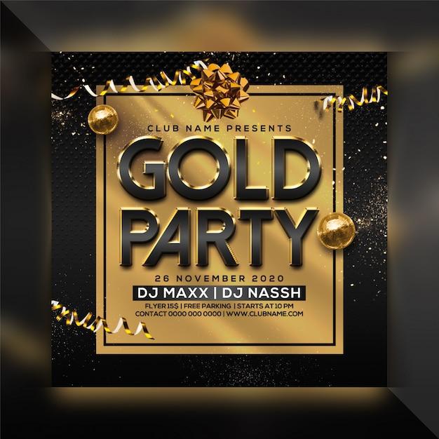 Modello di volantino festa d'oro Psd Premium