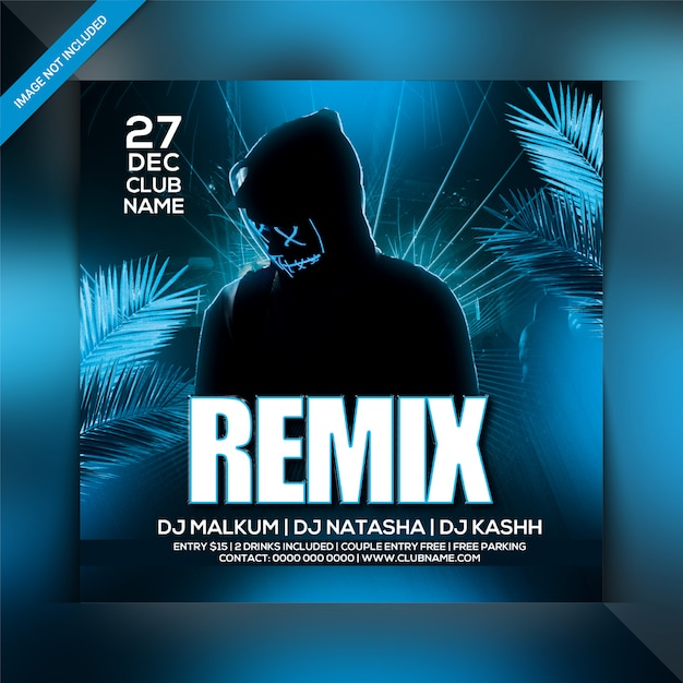 Modello di volantino festa notte remix Psd Premium