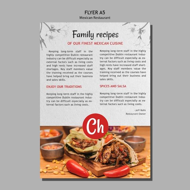 Modello di volantino per ricette di famiglia nel ristorante messicano Psd Gratuite