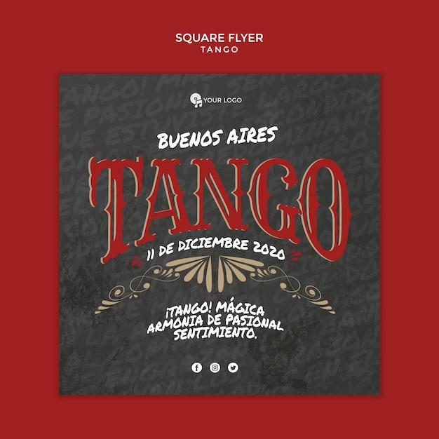 Modello di volantino quadrato di buenos aires tango Psd Gratuite