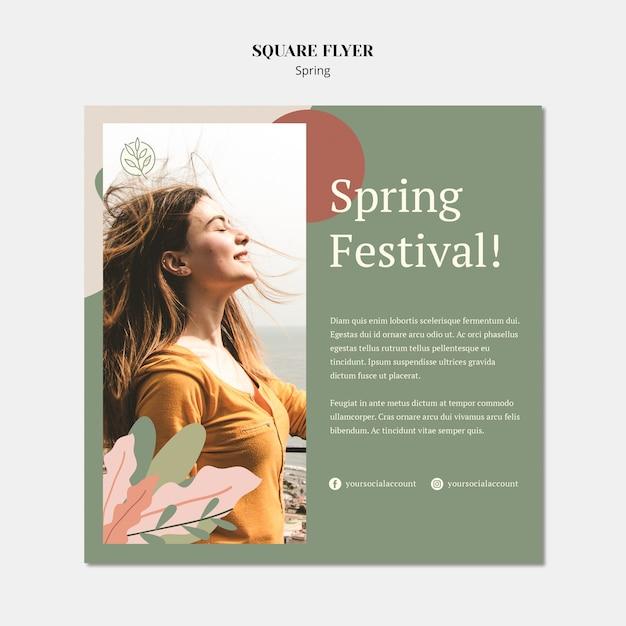 Modello di volantino quadrato di primavera con donna e capelli al vento Psd Gratuite