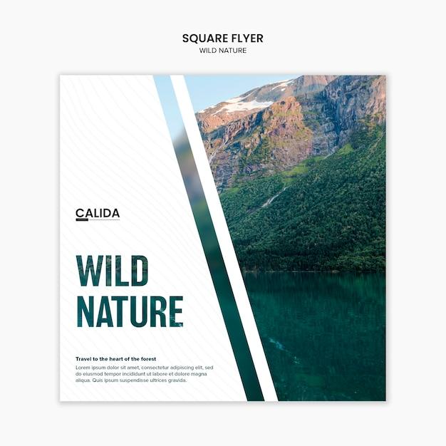 Modello di volantino quadrato natura selvaggia Psd Gratuite
